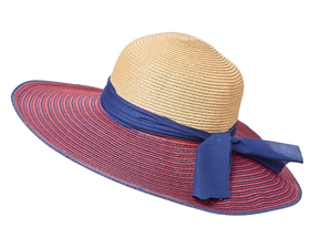 Wholesale Striped Brim Wide Brim Hat