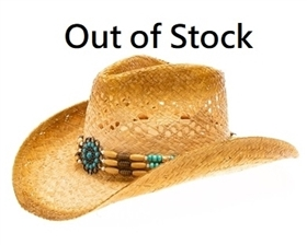 wholesale womens raffia straw cowboy hats turquoise medallion