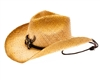 wholesale raffia straw cowgirl hats - longhorn buckle