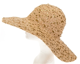 Wholesale Raffia Floppy Hat w/ Sequins Womens Beach Hat