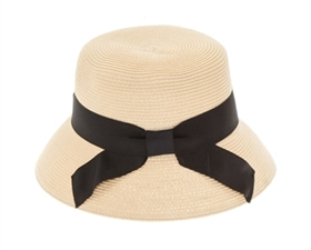 Wholesale Flat Top Cloche Hat w/ Bow Womens Beach Straw Sun Hat