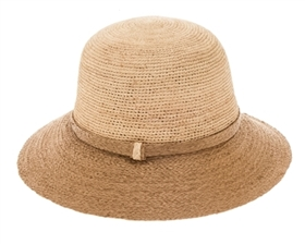 Wholesale Fine Crochet Raffia Bucket Hat Womens Beach Straw Sun Hat
