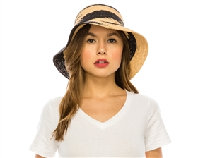 Wholesale Fine Crochet Raffia 2-Tone Bucket Hat