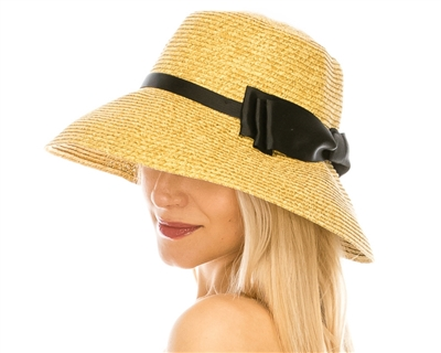 wholesale Lampshade Sun Hat w/ Twisted Bow