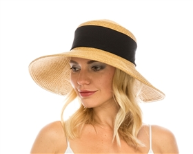 Wholesale Collapsible Straw Hat w/ Fabric Band