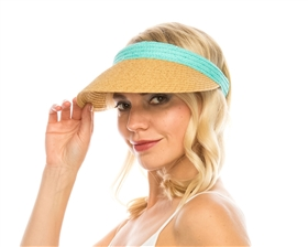 wholesale beach hats - Straw Clip Visor w/ Color Band