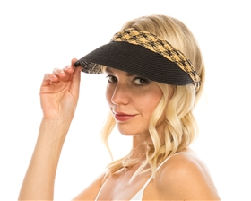 wholesale beach hats - Straw Clip Visor w/ Tribal Band