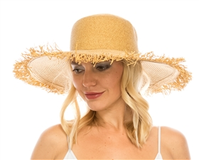 wholesale beach hats - Straw Sun Hat w/ Fringe