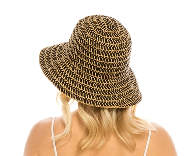 wholesale beach hats - Straw-Stitched Ribbon Bucket Hat
