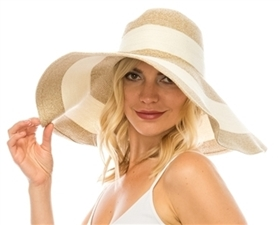 Wholesale Shapeable Striped Beach Hat