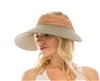 1867 Crochet Raffia & Fabric Oversized Visor