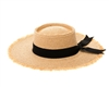 1871 Frayed Edge Raffia Hat w/ Black Ribbon