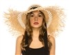 1878 Frayed Edge Raffia Beach Hat w/ Chin Sash
