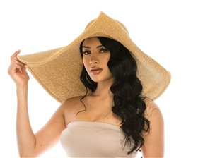 Wholesale Extra Wide Brim Sun Hats - 9-inch Brim Oversized Beach Hat w/ Pin Up Brim - UPF 50+ Extra Large Hat