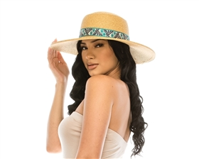 Sun Hat w/ Floral Jacquard Band
