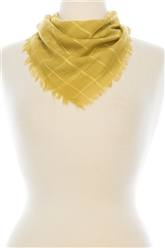 wholesale Fringed Plaid Square Scarf - Wholesale Stylish Face Covering