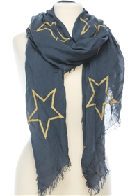 Wholesale Cotton Summer Scarves - Stars Outline