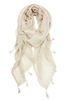 Wholesale Cotton Summer Scarves - Stonewashed Tassel