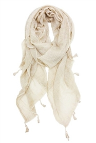 Wholesale Cotton Summer Scarves - Stonewashed Tassel Scarf