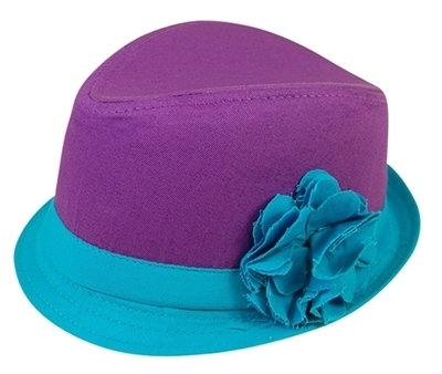 wholesale kids fabric fedora purple