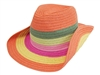 wholesale kids cowboy hats - straw orange stripes