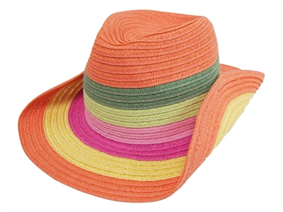 1446a2f77d6 wholesale kids cowboy hats - straw orange stripes
