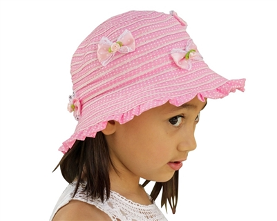wholesale kids packable sun hats ruffled with bows