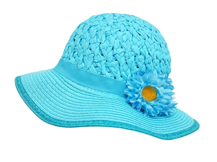 2102 childs sun hat with 2 flowers
