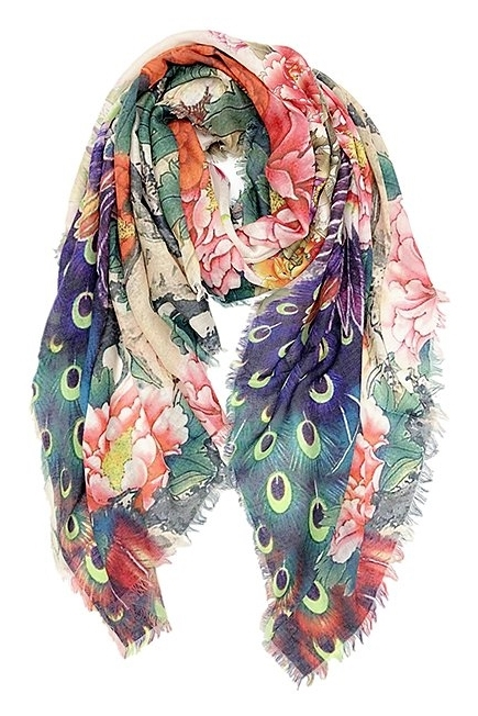 c33accfbdef 21033 Peacock/Flowers Cotton Scarf