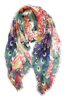 Wholesale Cotton Summer Scarves - Peacock/Flowers