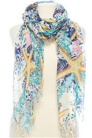 Wholesale Cotton Summer Scarves - Starfish