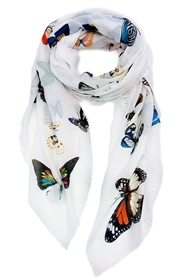 Wholesale Cotton Summer Scarves - Colorful Butterflies