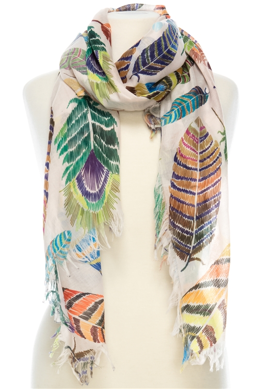 197978f4938 21044 Feather Print Cotton Scarf