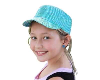 wholesale kids confetti straw cadet cap