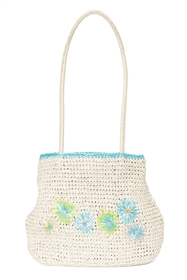 wholesale vintage straw bags - crochet straw handbags with flowers