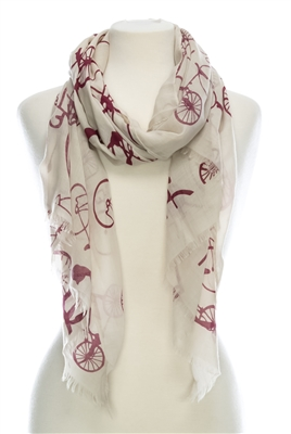 Wholesale Cotton Summer Scarves - Bicycle Print