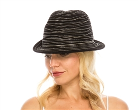 wholesale felt fedora hats - black womens hat with spiral stitching