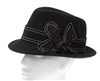 Wholesale Church Hats - Black Felt Fedora Dress Hat
