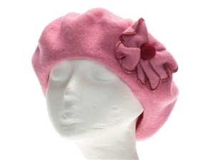 wholesale wool berets contrast stitch flower
