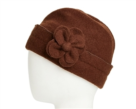wholesale lambswool foldover beanie  flower