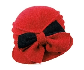 wholesale red cloche hats wool 2-tone bow