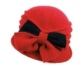 bulk red cloche hats wool 2-tone bow