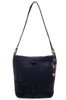 bulk black shoulder bags - wholesale straw vintage bags