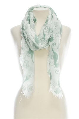 Wholesale Cotton Summer Scarves - Seahorse