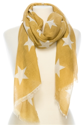 Wholesale Cotton Summer Scarves - Stars Print