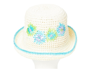 bulk straw crochet hats flowers