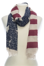 Wholesale Cotton Summer Scarves - American Flag