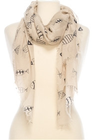 Wholesale Cotton Summer Scarves - Fish Doodles