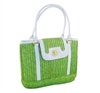 bulk small straw handbags - wholesale vintage straw bags - patent vinyl trim