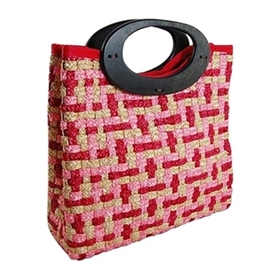 wholesale woven straw purses - square multicolored